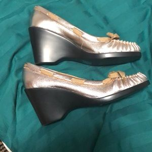Bronze Wedges with Black Heels